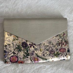 Gold Floral Envelope Clutch and Shoulder bag